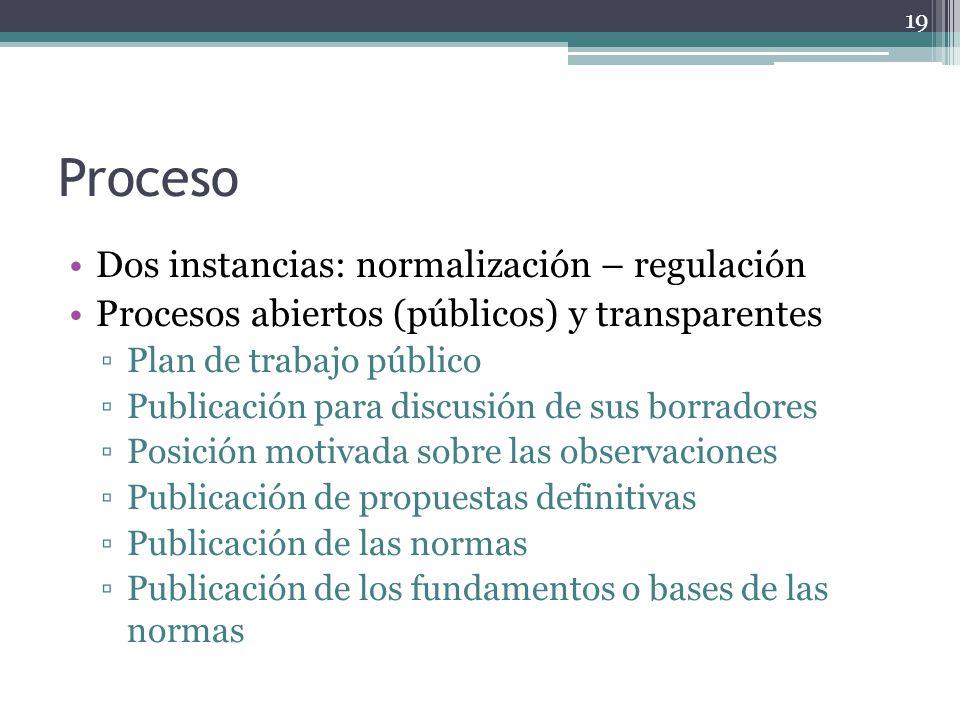 Proceso Dos instancias: normalización – regulación