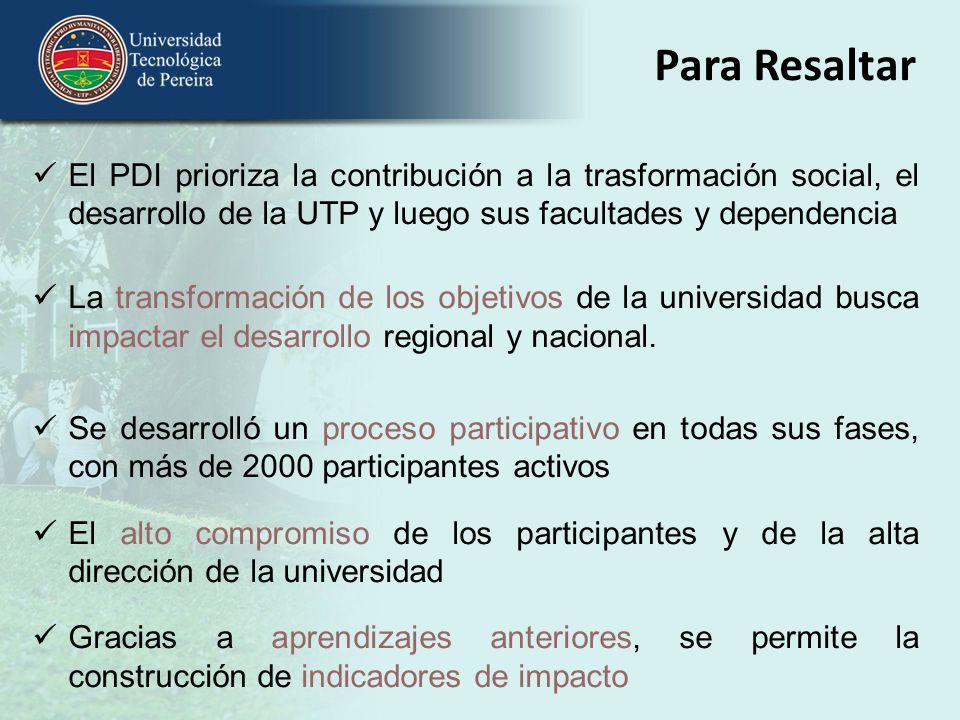 Para Resaltar El PDI prioriza la contribución a la trasformación social, el desarrollo de la UTP y luego sus facultades y dependencia.