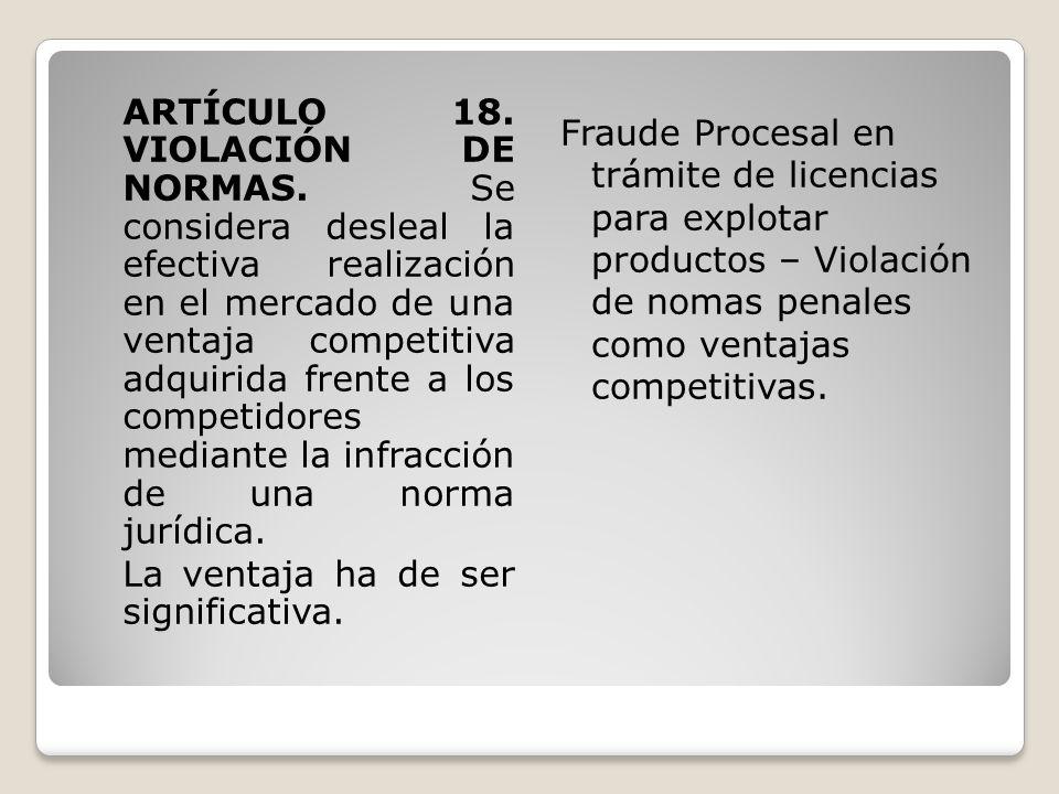 ARTÍCULO 18. VIOLACIÓN DE NORMAS