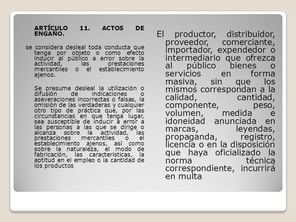 ARTÍCULO 11. ACTOS DE ENGAÑO
