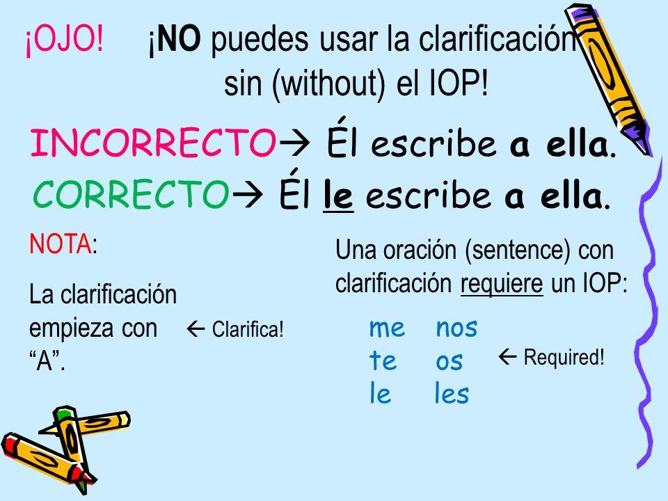 ¡OJO! ¡NO puedes usar la clarificación sin (without) el IOP!