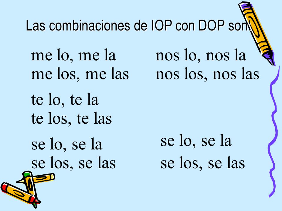 Las combinaciones de IOP con DOP son: