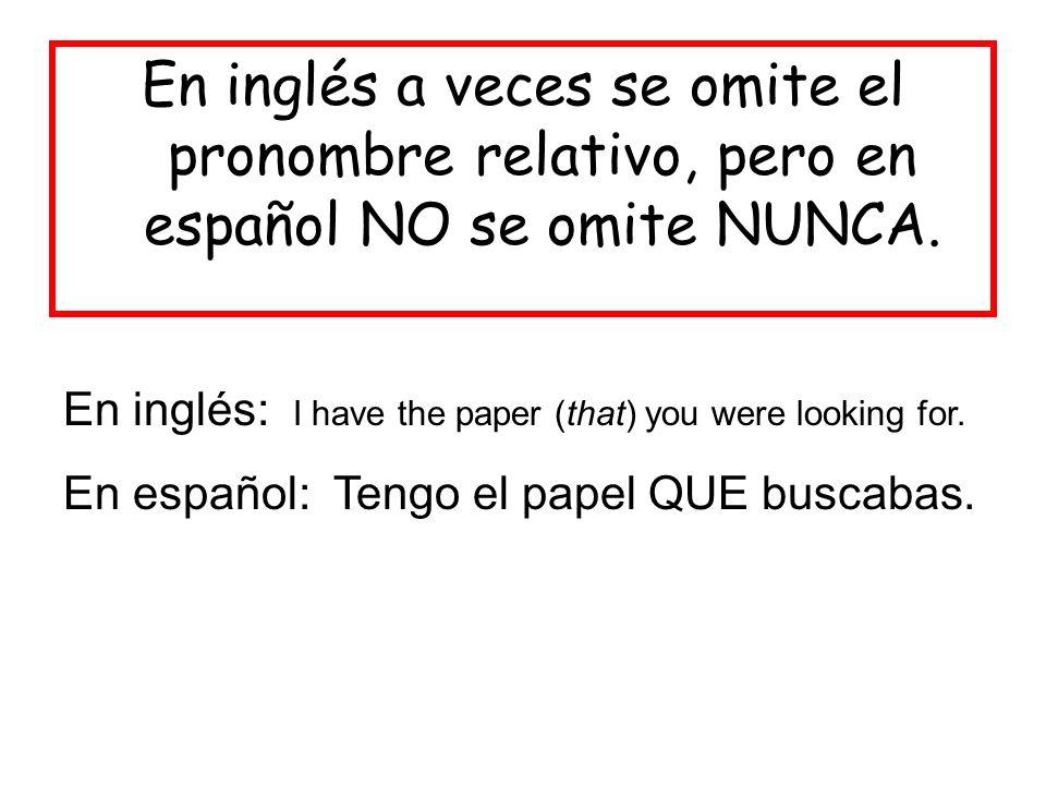 En inglés a veces se omite el pronombre relativo, pero en español NO se omite NUNCA.