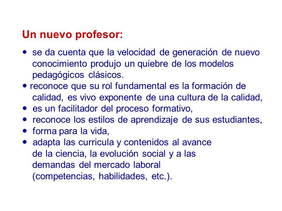 Un nuevo profesor:  se da cuenta que la velocidad de generación de nuevo conocimiento produjo un quiebre de los modelos pedagógicos clásicos.