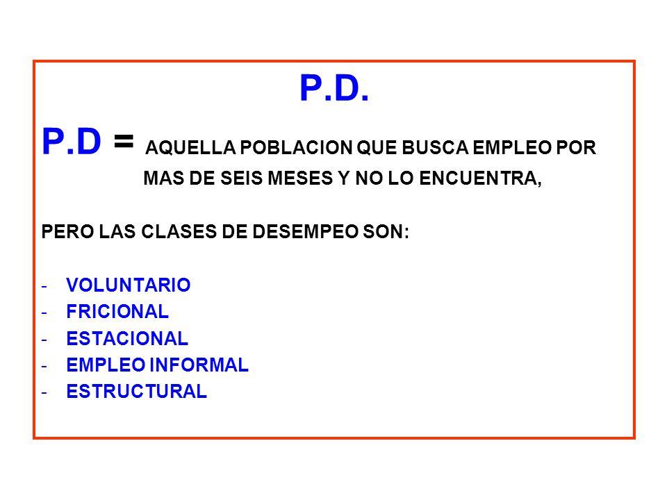 P.D = AQUELLA POBLACION QUE BUSCA EMPLEO POR