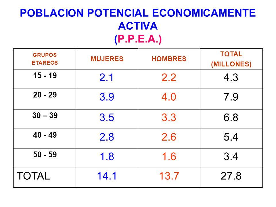 POBLACION POTENCIAL ECONOMICAMENTE ACTIVA (P.P.E.A.)