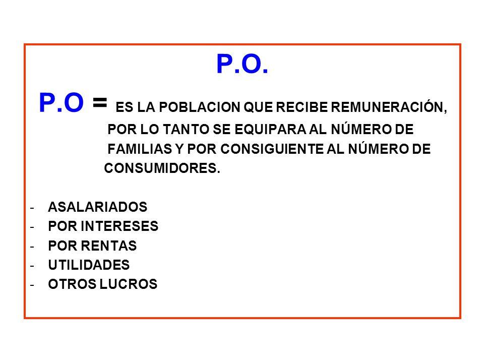 P.O = ES LA POBLACION QUE RECIBE REMUNERACIÓN,