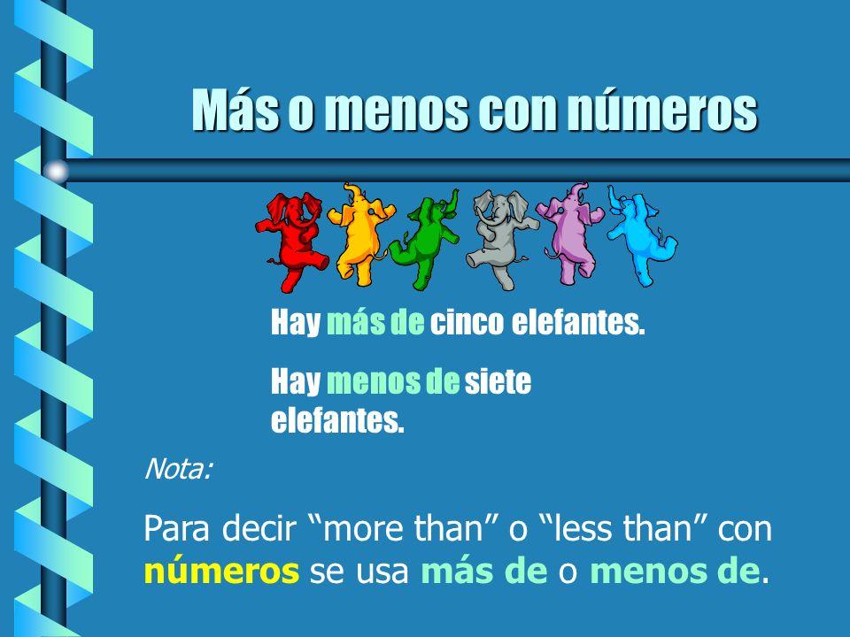 Más o menos con númerosHay más de cinco elefantes. Hay menos de siete elefantes. Nota: