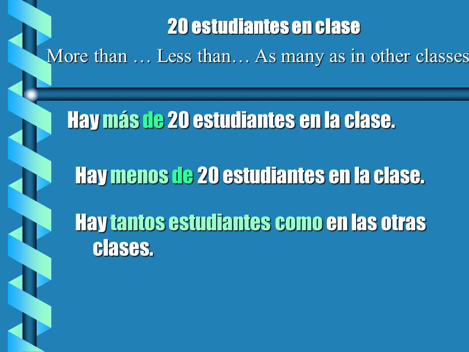 More than … Less than… As many as in other classes