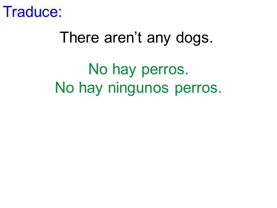 Traduce: There aren't any dogs. No hay perros. No hay ningunos perros.