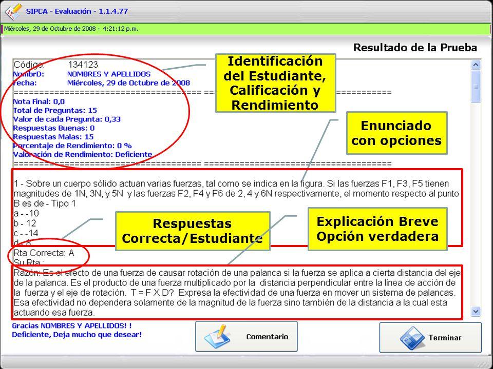 Identificación del Estudiante, Calificación y Rendimiento