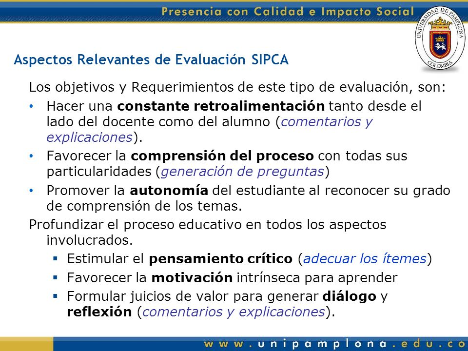 Aspectos Relevantes de Evaluación SIPCA