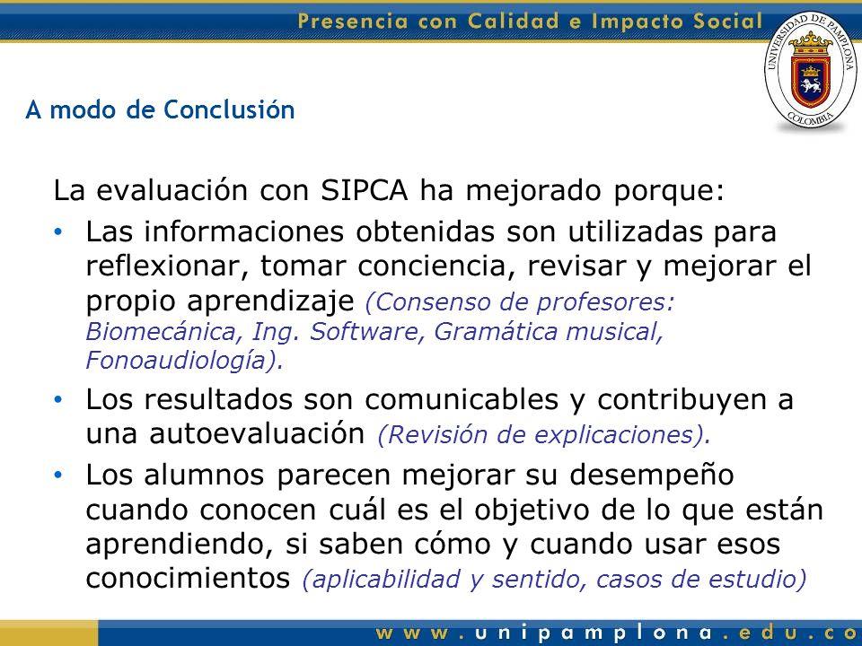 La evaluación con SIPCA ha mejorado porque: