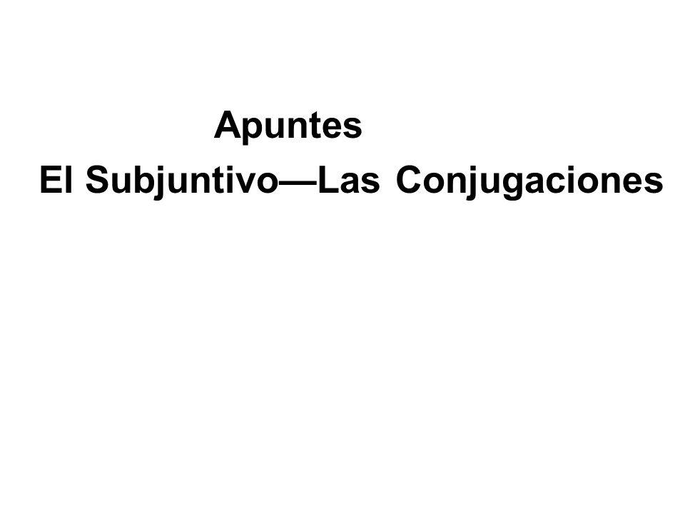 Apuntes El Subjuntivo—Las Conjugaciones