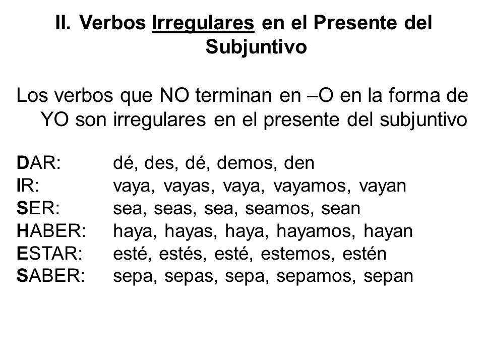 Verbos Irregulares en el Presente del Subjuntivo