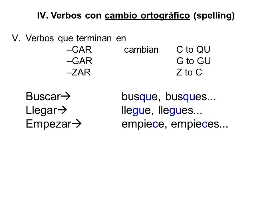Verbos con cambio ortográfico (spelling)