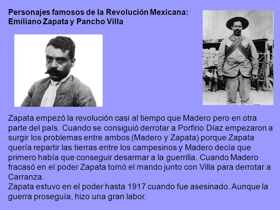 Personajes famosos de la Revolución Mexicana: Emiliano Zapata y Pancho Villa