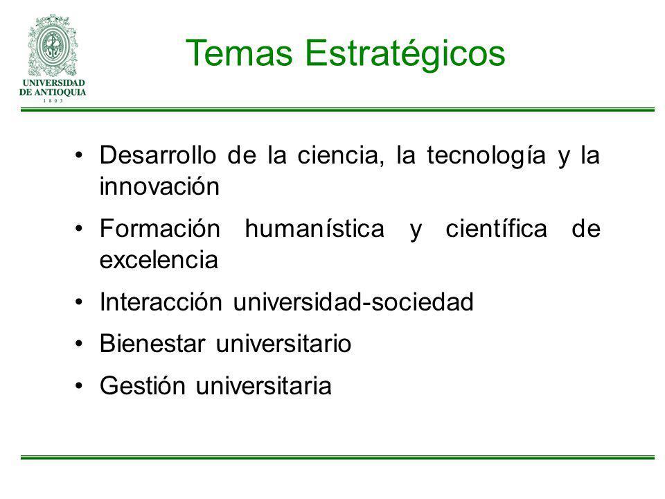 Temas Estratégicos Desarrollo de la ciencia, la tecnología y la innovación. Formación humanística y científica de excelencia.