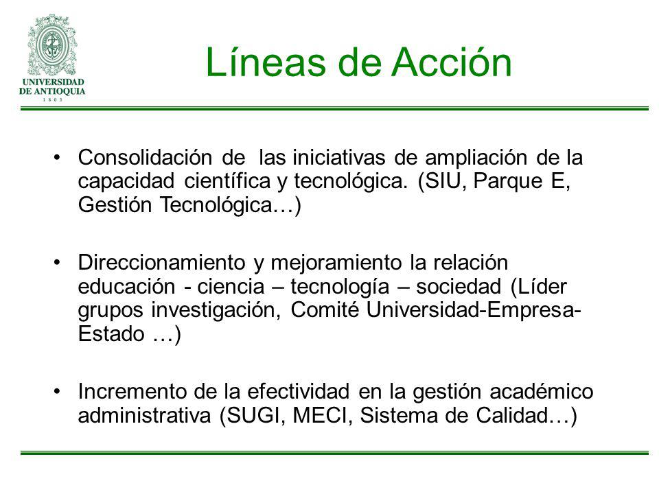Líneas de Acción Consolidación de las iniciativas de ampliación de la capacidad científica y tecnológica. (SIU, Parque E, Gestión Tecnológica…)