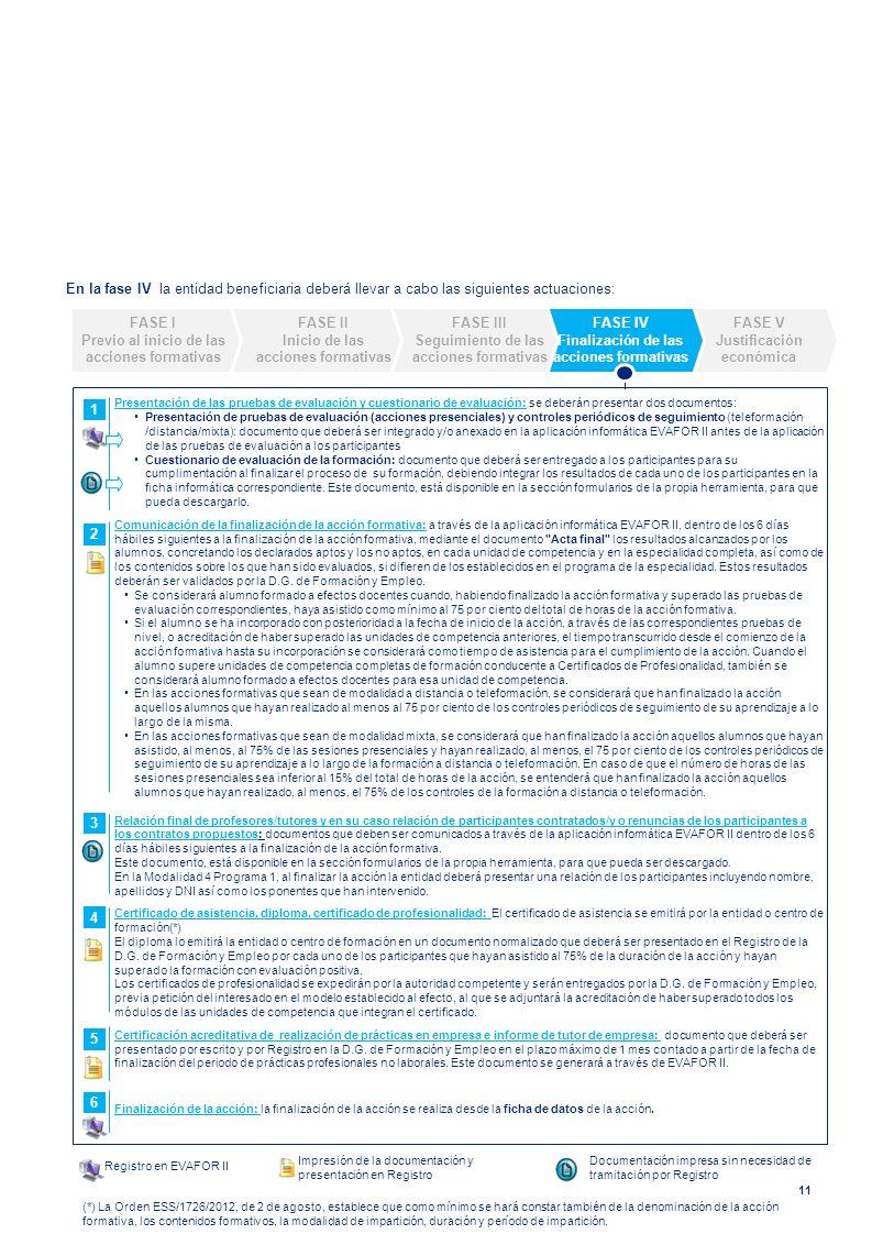 En la fase IV la entidad beneficiaria deberá llevar a cabo las siguientes actuaciones: