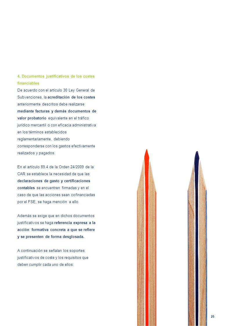 4. Documentos justificativos de los costes financiables