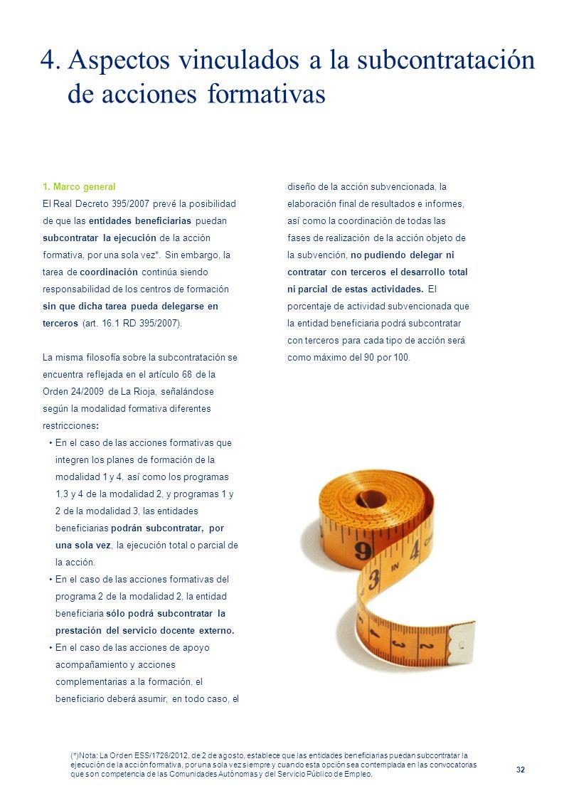 4. Aspectos vinculados a la subcontratación de acciones formativas