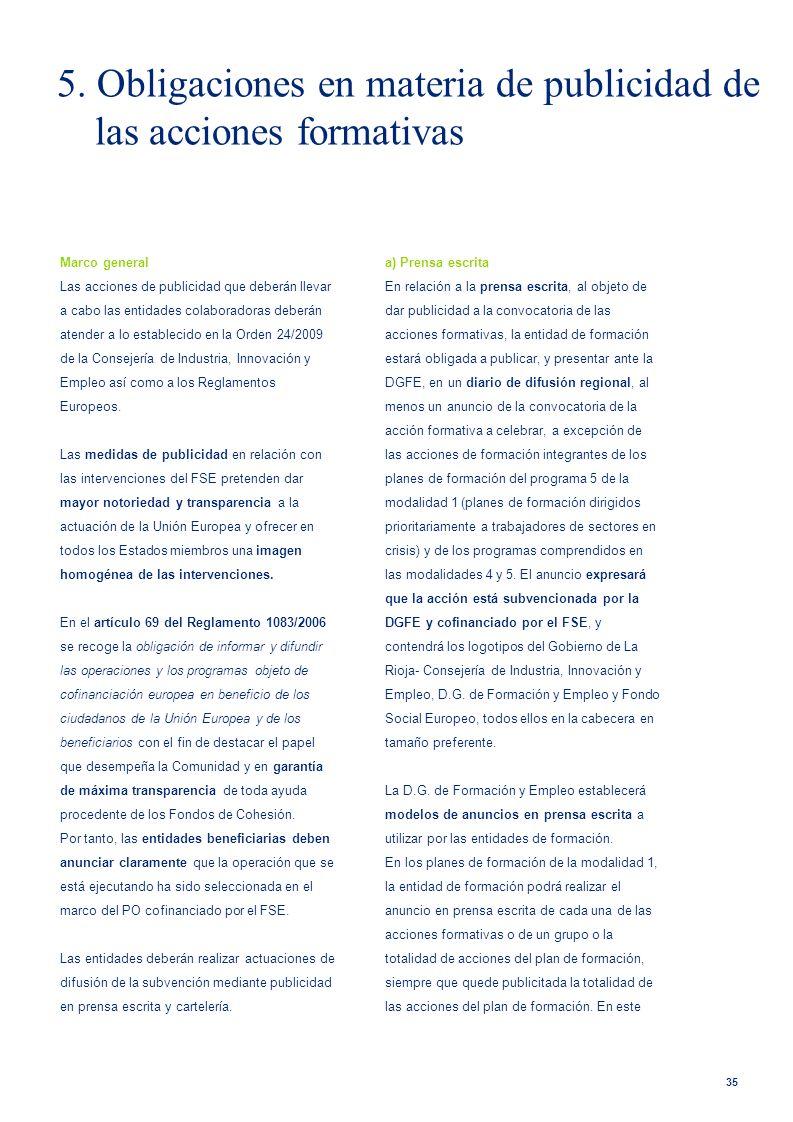 5. Obligaciones en materia de publicidad de las acciones formativas