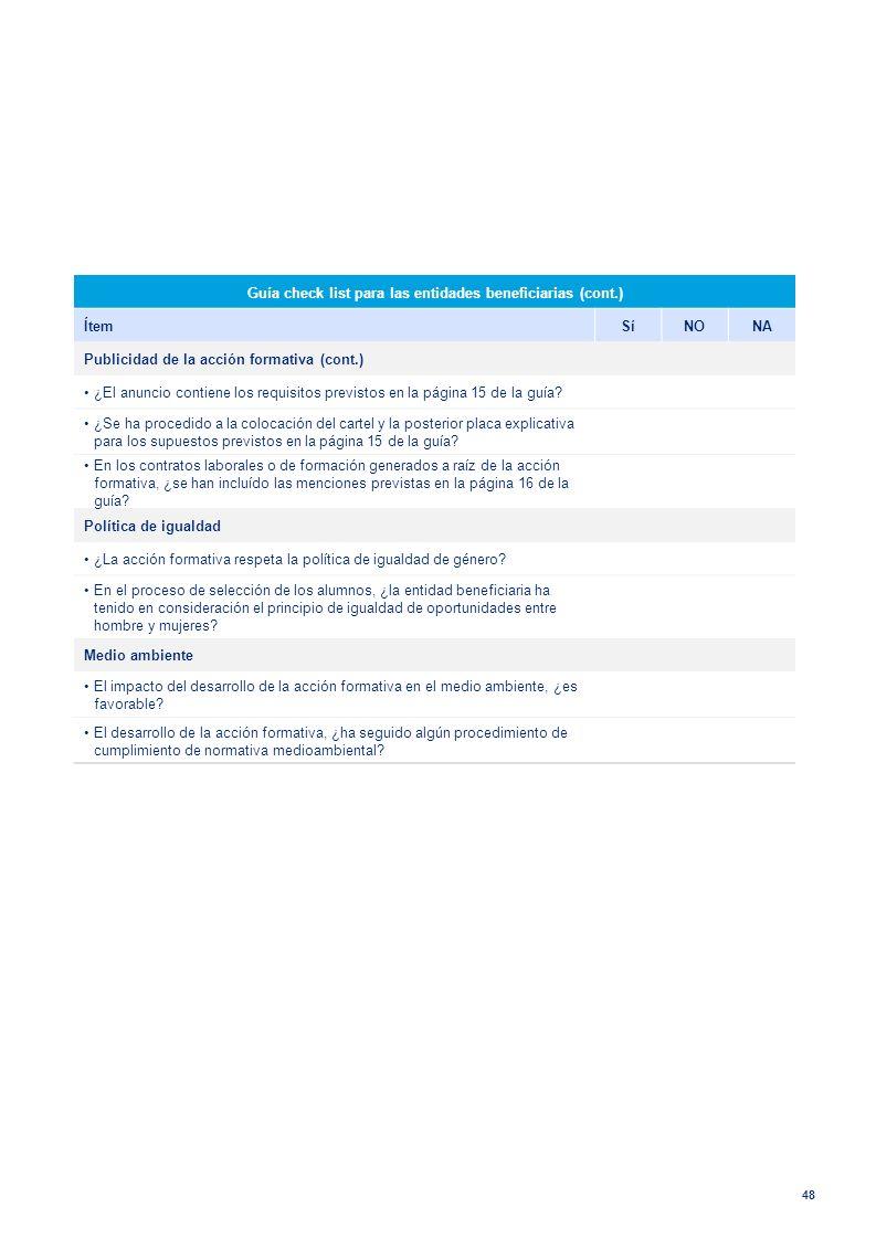 Guía check list para las entidades beneficiarias (cont.)