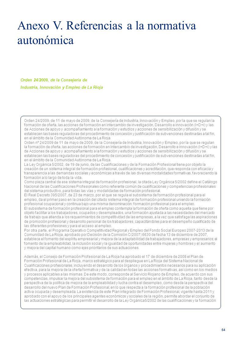 Anexo V. Referencias a la normativa autonómica
