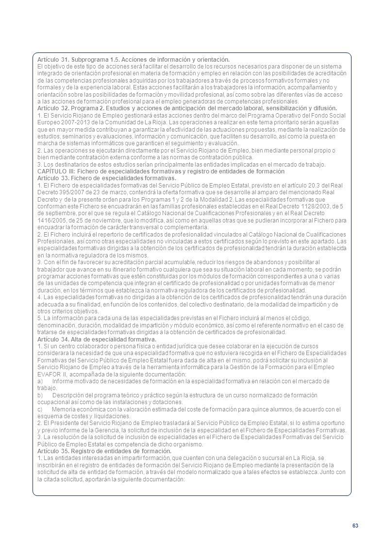 Artículo 31. Subprograma 1.5. Acciones de información y orientación.