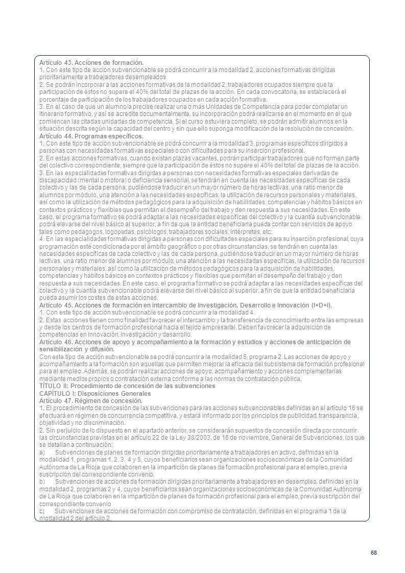Artículo 43. Acciones de formación.