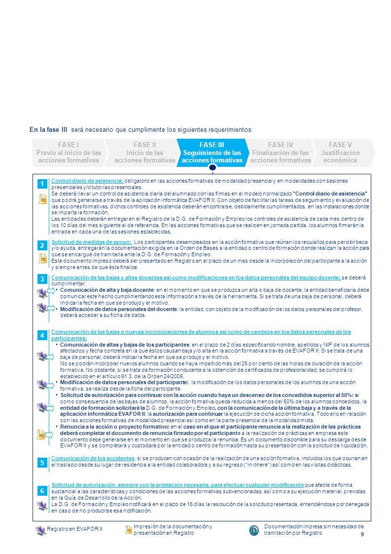 En la fase III será necesario que cumplimente los siguientes requerimientos: