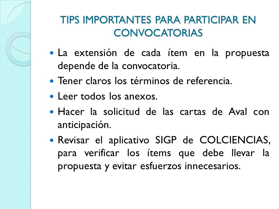 TIPS IMPORTANTES PARA PARTICIPAR EN CONVOCATORIAS