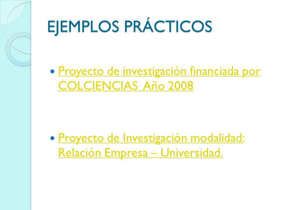 EJEMPLOS PRÁCTICOS Proyecto de investigación financiada por COLCIENCIAS Año 2008.