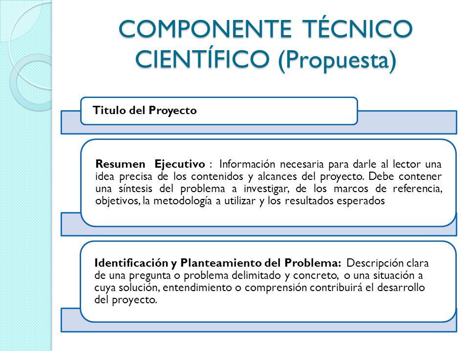COMPONENTE TÉCNICO CIENTÍFICO (Propuesta)