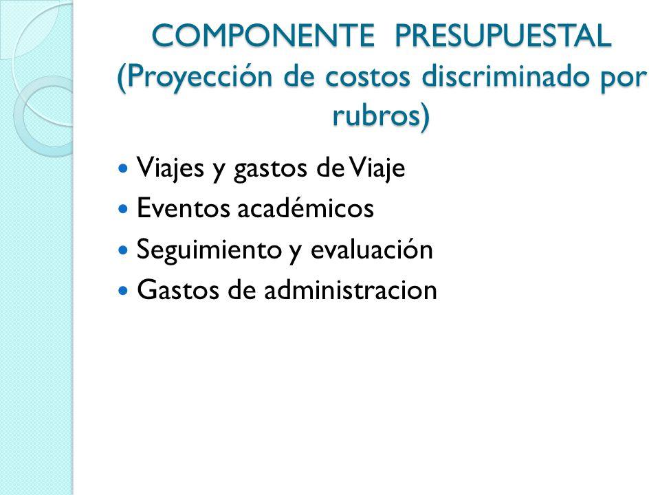 COMPONENTE PRESUPUESTAL (Proyección de costos discriminado por rubros)