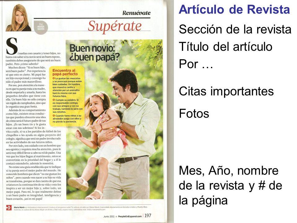 Artículo de RevistaSección de la revista.Título del artículo.