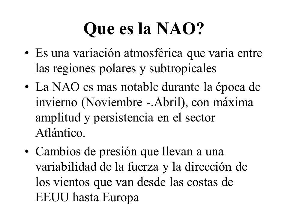Que es la NAO Es una variación atmosférica que varia entre las regiones polares y subtropicales.