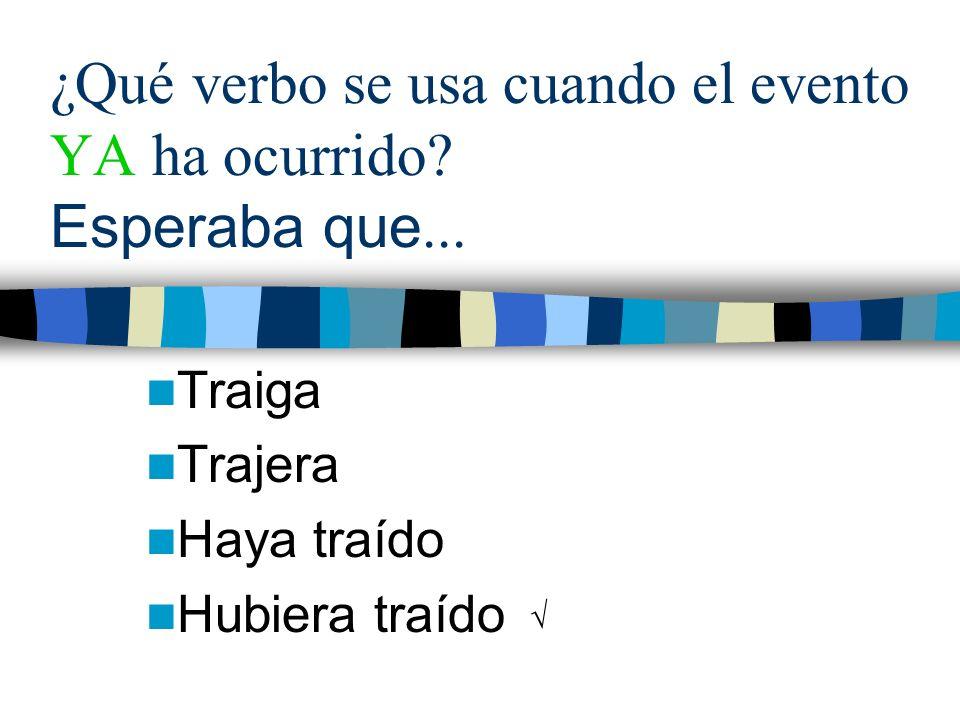 ¿Qué verbo se usa cuando el evento YA ha ocurrido Esperaba que...