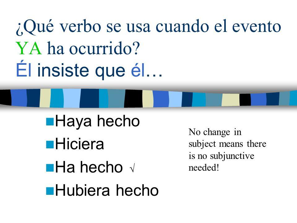 ¿Qué verbo se usa cuando el evento YA ha ocurrido Él insiste que él…