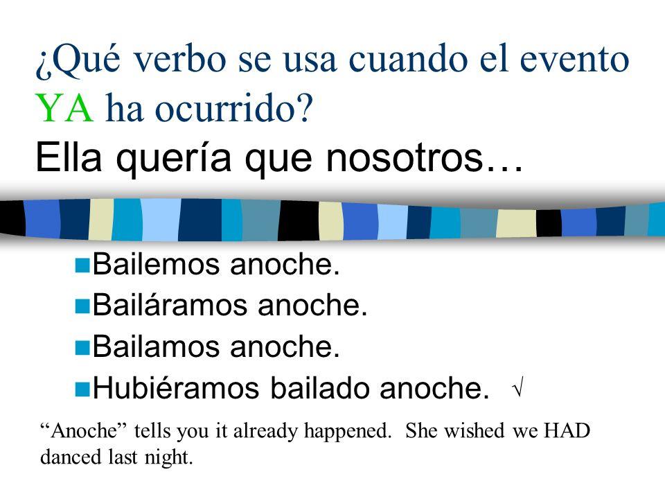 ¿Qué verbo se usa cuando el evento YA ha ocurrido