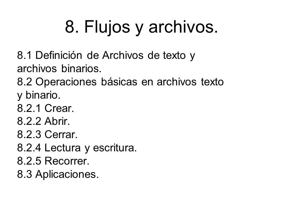 8. Flujos y archivos. 8.1 Definición de Archivos de texto y