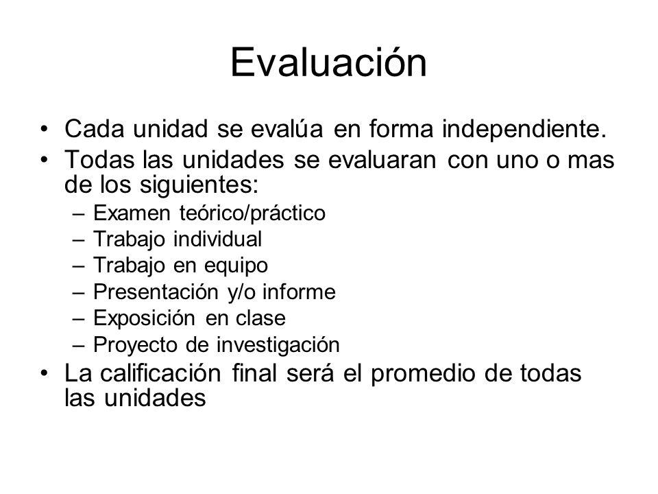 Evaluación Cada unidad se evalúa en forma independiente.