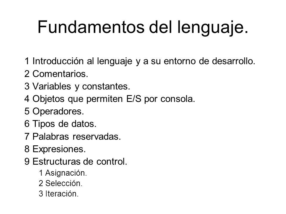Fundamentos del lenguaje.