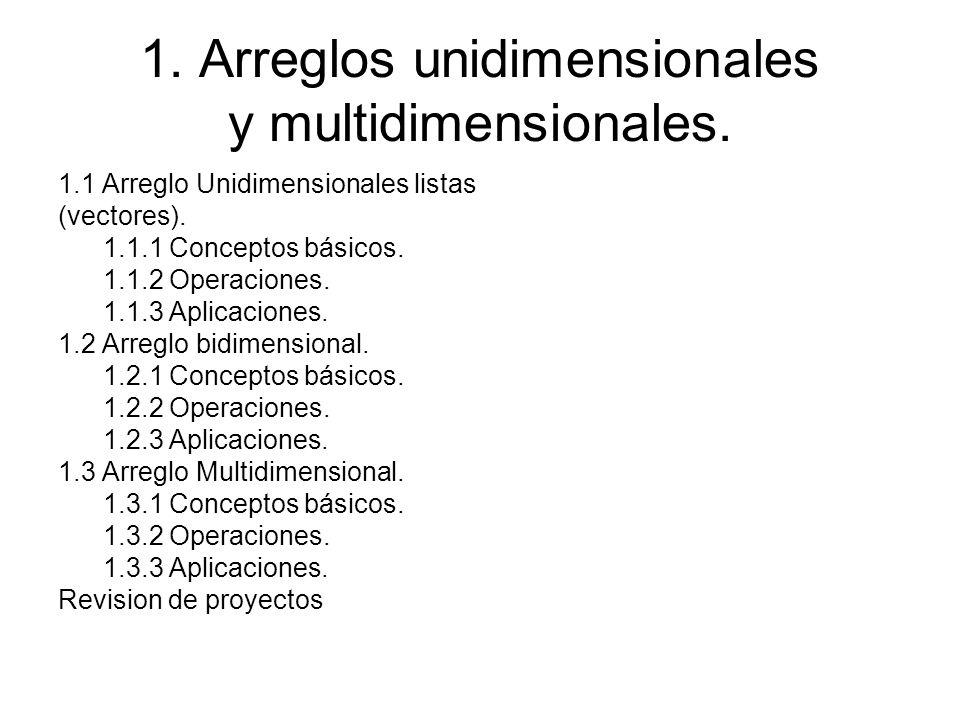 1. Arreglos unidimensionales y multidimensionales.
