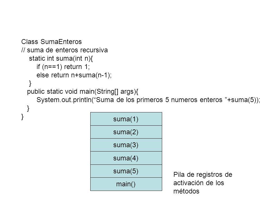 Class SumaEnteros // suma de enteros recursiva. static int suma(int n){ if (n==1) return 1; else return n+suma(n-1);