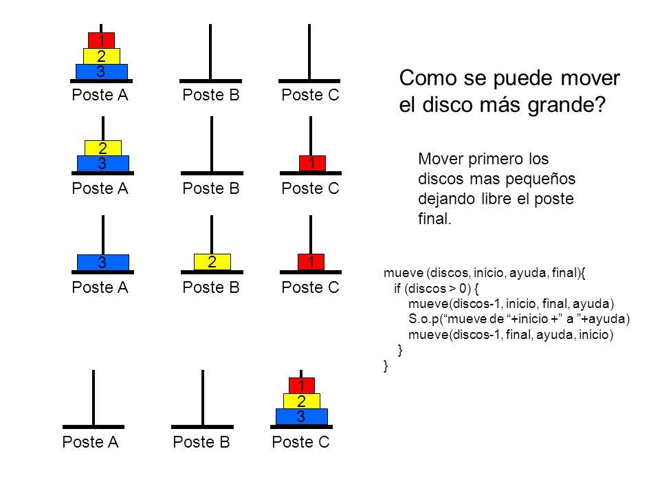 Como se puede mover el disco más grande 3 2 1 Poste A Poste B Poste C