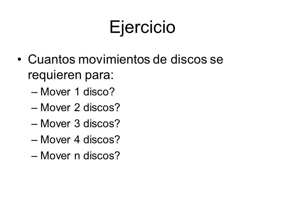 Ejercicio Cuantos movimientos de discos se requieren para: