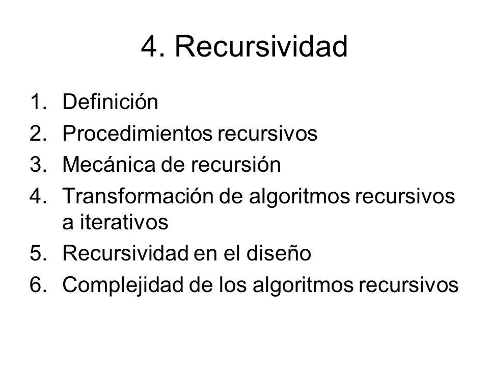 4. Recursividad Definición Procedimientos recursivos
