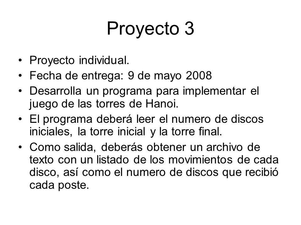 Proyecto 3 Proyecto individual. Fecha de entrega: 9 de mayo 2008